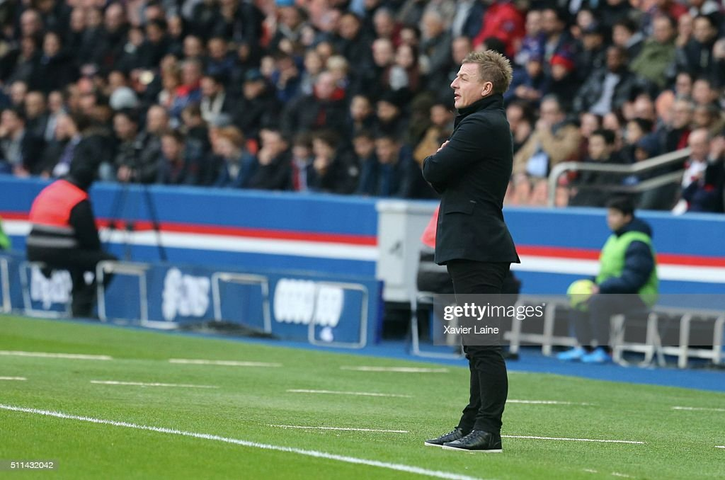 Head coach Olivier Guegan of Stade de Reims during the French Ligue 1 between Paris Saint-Germain and Stade de Reims at Parc Des Princes on february 20, 2016 in Paris, France.
