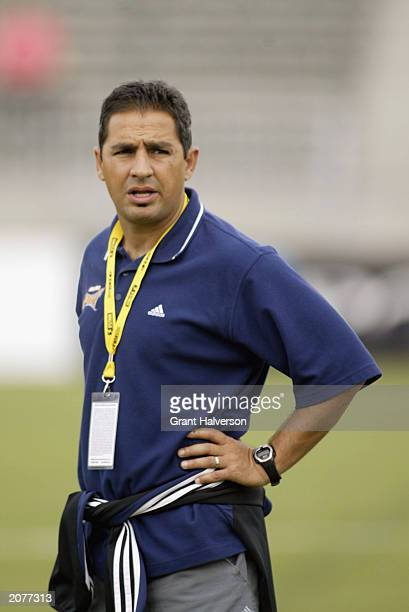 Head coach Omid Namazi of the San Diego Spirit watches the WUSA match against the Carolina Courage at SAS Stadium on May 24 2003 in Cary North...