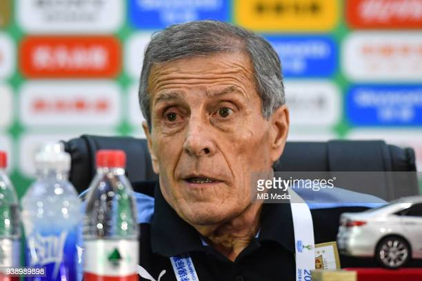 Head coach Oscar Tabarez of Uruguay national football team attends a press conference after the final match against Wales national football team...