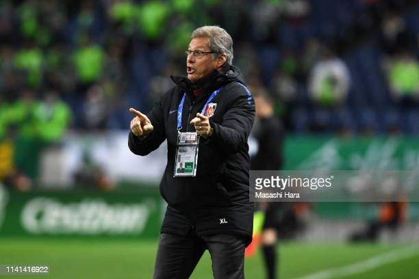 Head coach Oswaldo de Oliveira of Urawa Red Diamonds gives instruction during the AFC Champions League Group G match between Urawa Red Diamonds and...