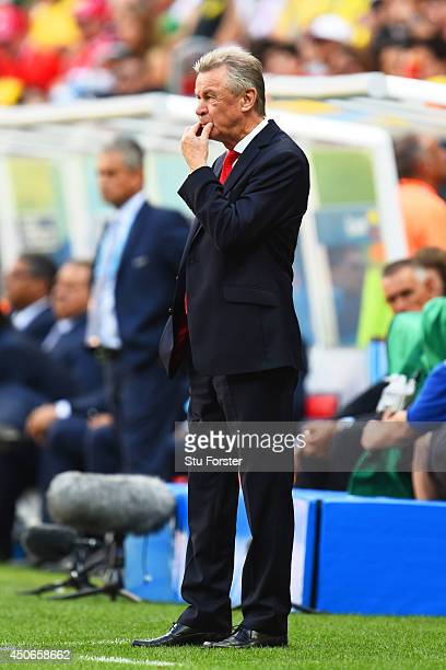 Head coach Ottmar Hitzfeld of Switzerland looks on during the 2014 FIFA World Cup Brazil Group E match between Switzerland and Ecuador at Estadio...