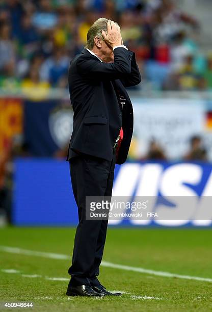 Head coach Ottmar Hitzfeld of Switzerland looks on during the 2014 FIFA World Cup Brazil Group E match between Switzerland and France at Arena Fonte...