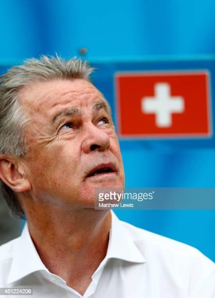 Head coach Ottmar Hitzfeld of Switzerland looks on during the 2014 FIFA World Cup Brazil Group E match between Honduras and Switzerland at Arena...