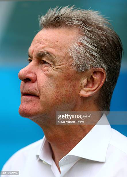 Head coach Ottmar Hitzfeld of Switzerland looks on prior to the 2014 FIFA World Cup Brazil Group E match between Honduras and Switzerland at Arena...