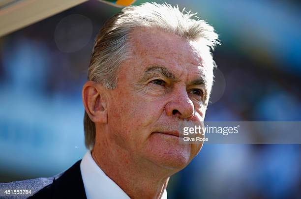Head coach Ottmar Hitzfeld of Switzerland looks on prior to the 2014 FIFA World Cup Brazil Round of 16 match between Argentina and Switzerland at...