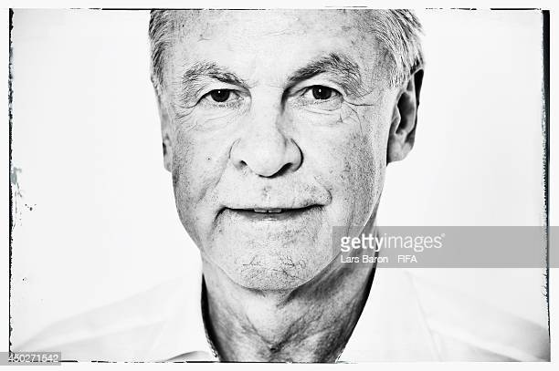 Head coach Ottmar Hitzfeld of Switzerland poses during the official FIFA World Cup 2014 portrait session on June 7 2014 in Porto Seguro Brazil