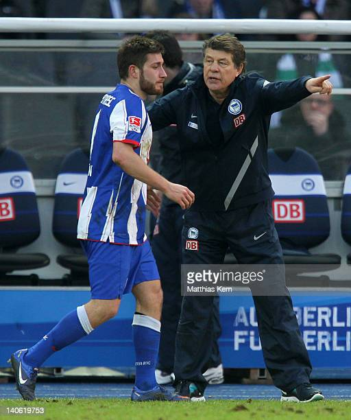 Head coach Otto Rehhagel of Berlin and Torun Tunay look on during the Bundesliga match between Hertha BSC Berlin and SV Werder Bremen at Olympic...