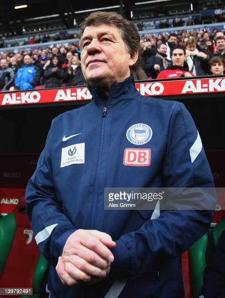 Head coach Otto Rehhagel of Berlin arrives for the Bundesliga match between FC Augsburg and Hertha BSC Berlin at SGL Arena on February 25, 2012 in...