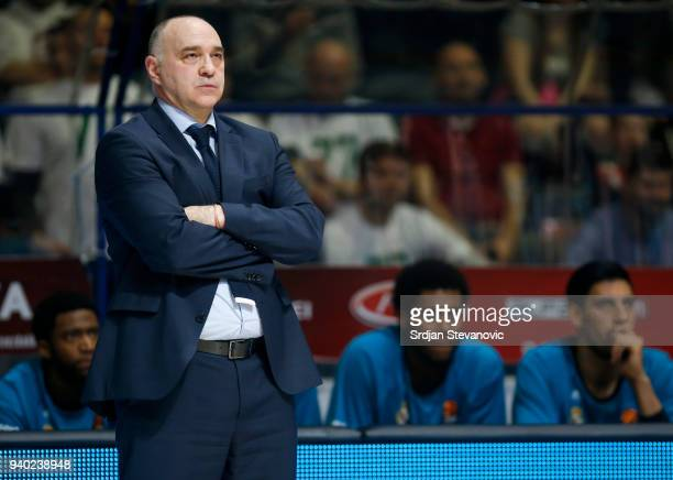 Head coach Pablo Laso of Real Madrid looks on during the 2017/2018 Turkish Airlines EuroLeague Regular Season game between Crvena Zvezda mts Belgrade...
