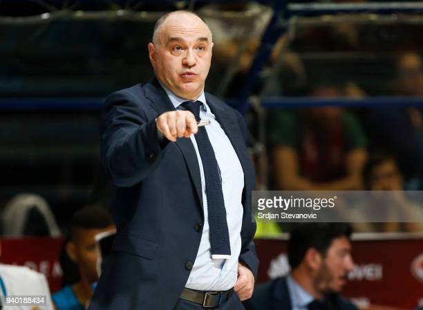 Head coach Pablo Laso of Real Madrid reacts during the 2017/2018 Turkish Airlines EuroLeague Regular Season game between Crvena Zvezda mts Belgrade...