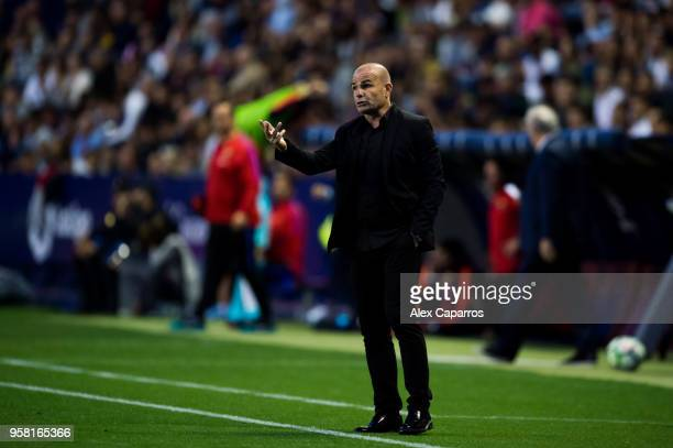 Head Coach Paco Lopez of Levante UD gives instructions during the La Liga match between Levante UD and FC Barcelona at Estadi Ciutat de Valencia on...