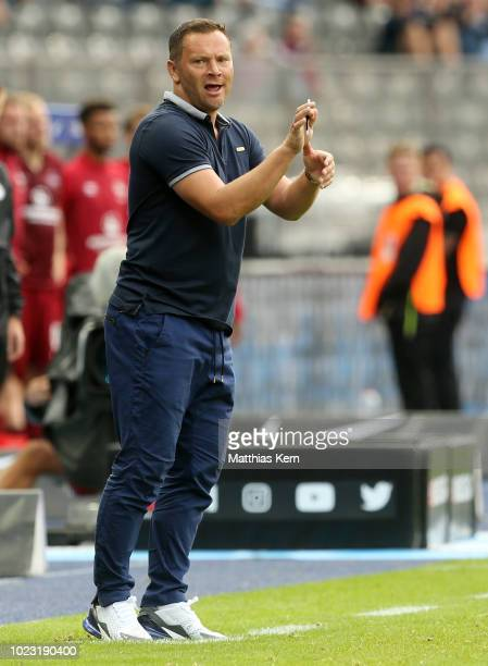 Head coach Pal Dardai of Berlin gestures during the Bundesliga match between Hertha BSC and 1 FC Nuernberg at Olympiastadion on August 25 2018 in...