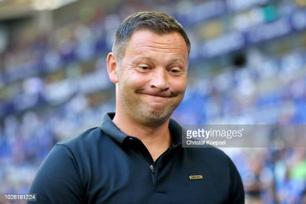 Head coach Pal Dardai of Berlin looks on prior to the Bundesliga match between FC Schalke 04 and Hertha BSC at VeltinsArena on September 2 2018 in...