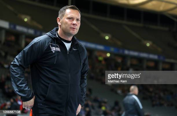 Head coach Pal Dardai of Berlin looks on prior to the Bundesliga match between Hertha BSC and RB Leipzig at Olympiastadion on November 3 2018 in...