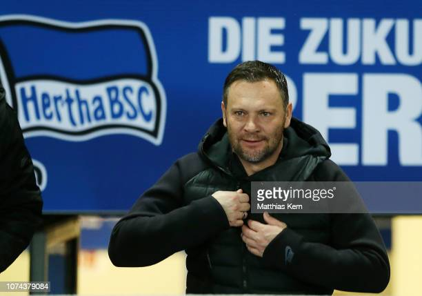 Head coach Pal Dardai of Berlin looks on prior to the Bundesliga match between Hertha BSC and FC Augsburg at Olympiastadion on December 18 2018 in...