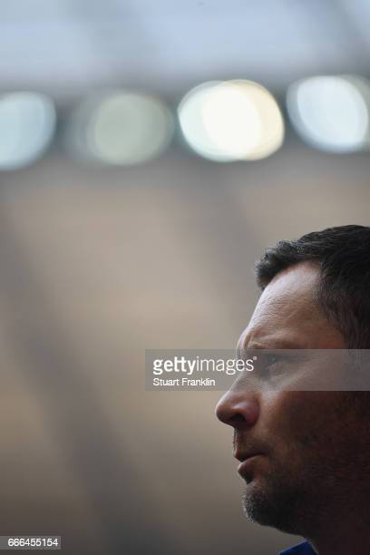 Head coach Pal Dardai of Berlin looks on prior to the Bundesliga match between Hertha BSC and FC Augsburg at Olympiastadion on April 9 2017 in Berlin...