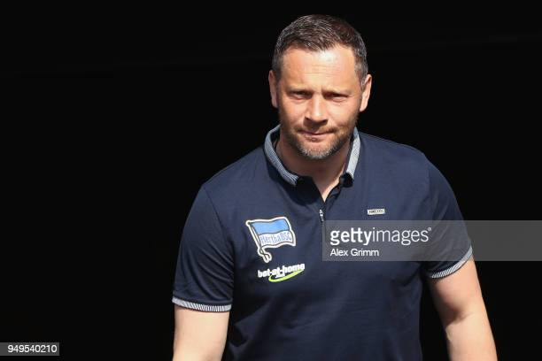 Head coach Pal Dardai of Berlin looks on prior to the Bundesliga match between Eintracht Frankfurt and Hertha BSC at CommerzbankArena on April 21...