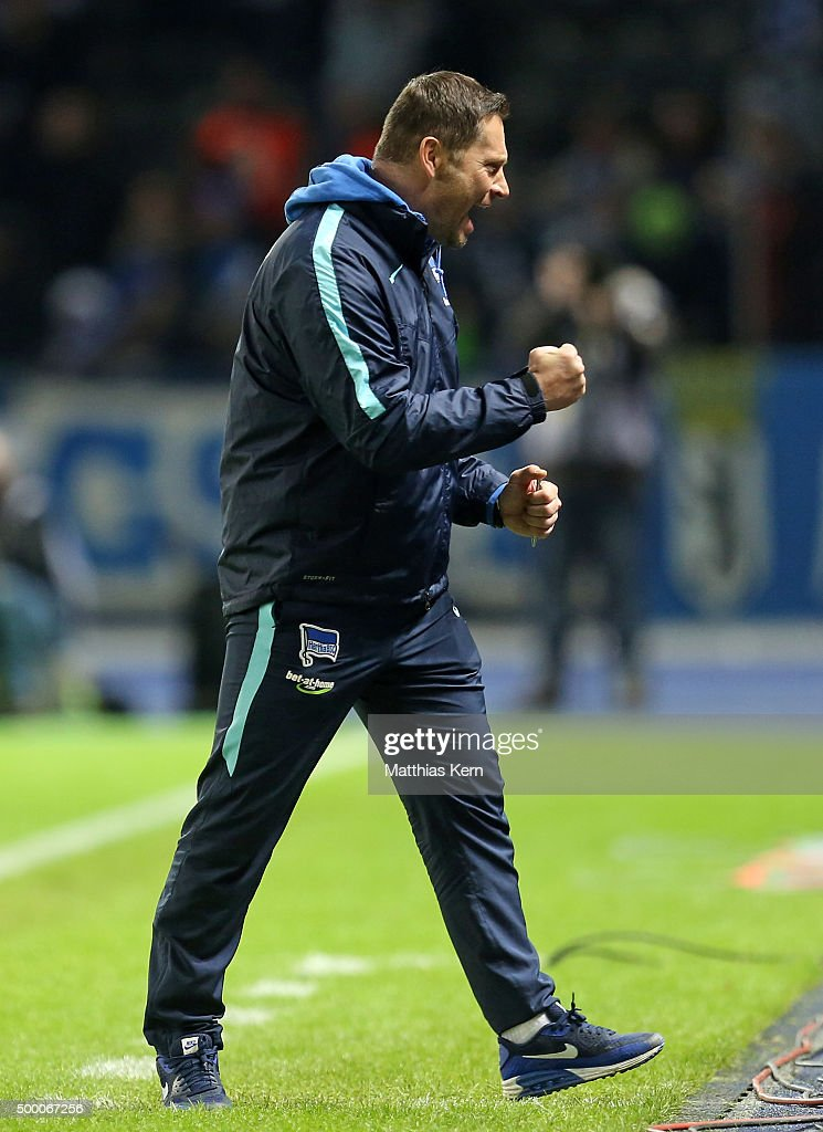 Head coach Pal Dardai of Berlin shows his delight after winning the Bundesliga match between Hertha BSC and Bayer Leverkusen at Olympiastadion on December 5, 2015 in Berlin, Germany.