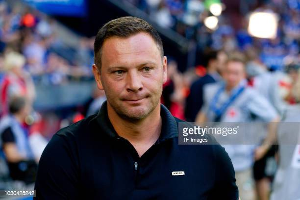 Head coach Pal Dardai of Hertha BSC Berlin looks on prior the Bundesliga match between FC Schalke 04 and Hertha BSC at VeltinsArena on September 2...