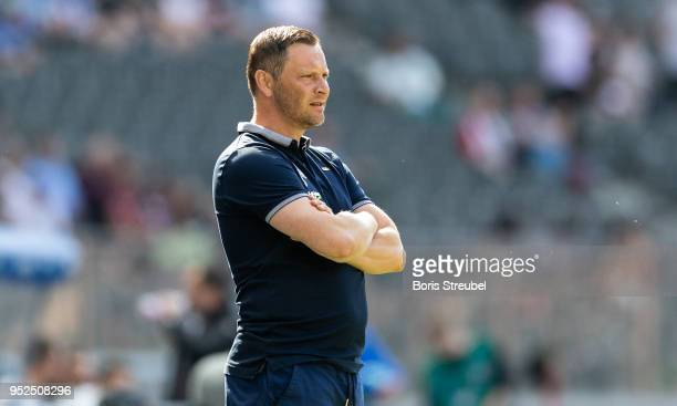Head coach Pal Dardai of Hertha BSC looks on during the Bundesliga match between Hertha BSC and FC Augsburg at Olympiastadion on April 28 2018 in...