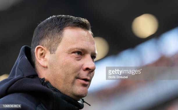 Head coach Pal Dardai of Hertha BSC looks on prior to the Bundesliga match between Hannover 96 and Hertha BSC at HDIArena on December 1 2018 in...