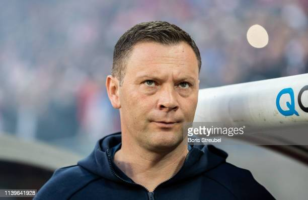 Head coach Pal Dardai of Hertha BSC looks on prior to the Bundesliga match between RB Leipzig and Hertha BSC at Red Bull Arena on March 30 2019 in...