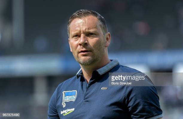 Head coach Pal Dardai of Hertha BSC looks on prior to the Bundesliga match between Hertha BSC and FC Augsburg at Olympiastadion on April 28 2018 in...