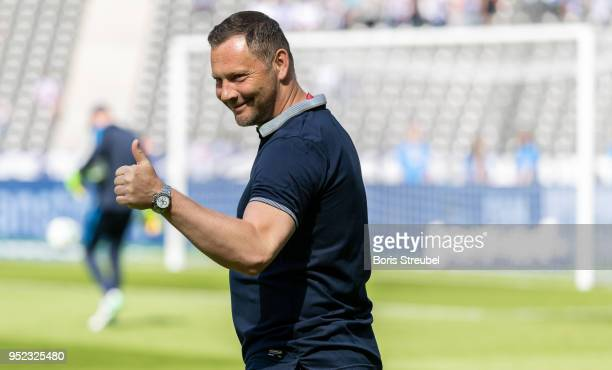 Head coach Pal Dardai of Hertha BSC reacts prior to the Bundesliga match between Hertha BSC and FC Augsburg at Olympiastadion on April 28 2018 in...