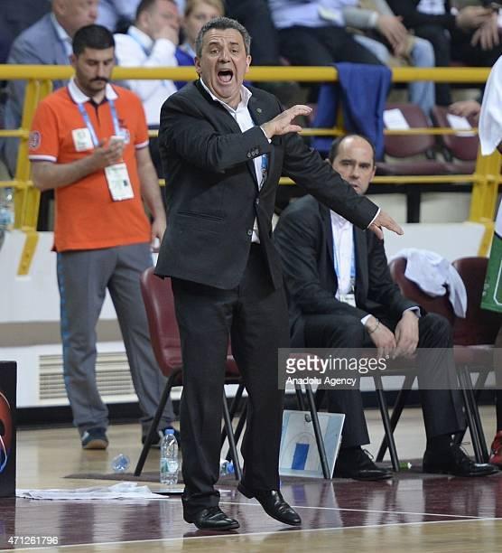 Head coach Pascal Donnadieu of Nanterre reacts during the FIBA EuroChallenge Final Four basketball match between Trabzonspor Medical Park and...