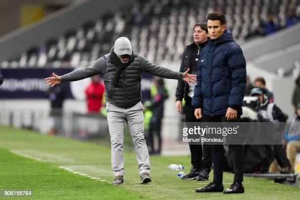 Head coach Pascal Dupraz of Toulouse protests against the fourth referee because he considers that the main referee does not see the faults during...