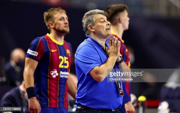Head coach Pascual Fuertes of FC Barcelona reacts during the VELUX EHF Champions League FINAL4 semi-final between FC Barcelona v HBC Nantes at...