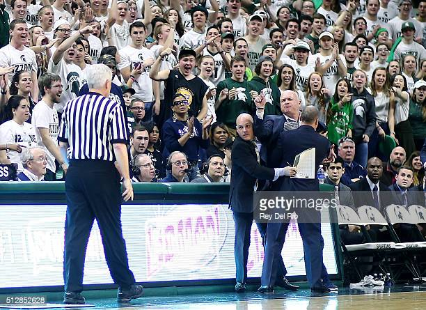 Head coach Pat Chambers of the Penn State Nittany Lions reacts after being called for a technical foul during the first half against the Michigan...