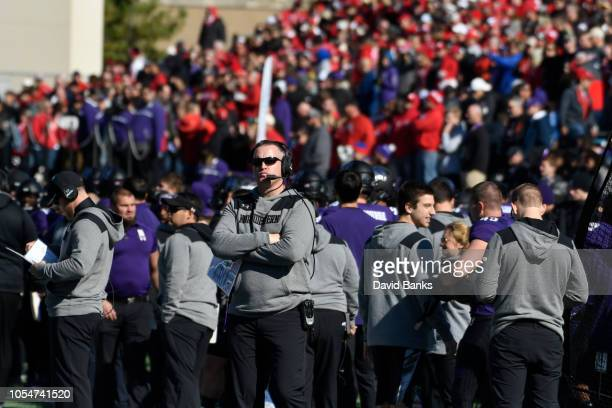 Head coach Pat Fitzgerald of the Northwestern Wildcats during the first half on October 13 2018 at Ryan Field in Evanston Illinois