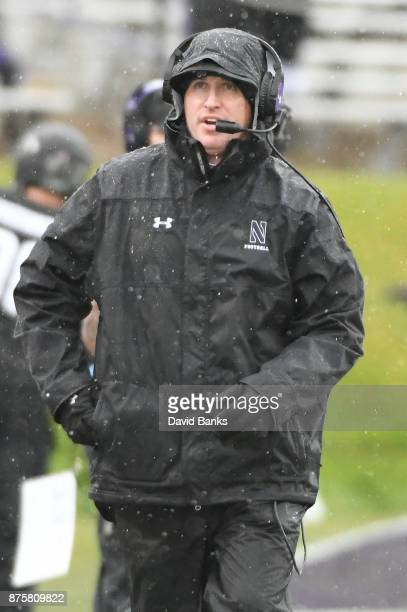 Head coach Pat Fitzgerald of the Northwestern Wildcats on the sidelines in a game against the Minnesota Golden Gophers during the first half on...