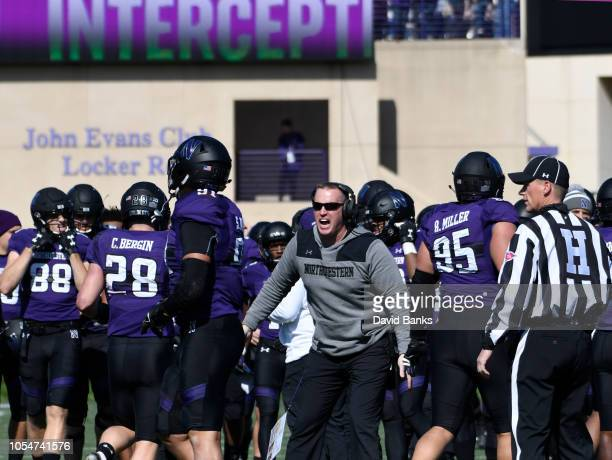 Head coach Pat Fitzgerald of the Northwestern Wildcats reacts as his team intercepts a pass against the Nebraska Cornhuskers during the second half...