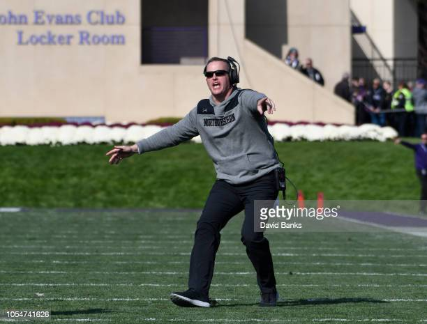 Head coach Pat Fitzgerald of the Northwestern Wildcats reacts to a call on the field during the second half on October 13 2018 at Ryan Field in...