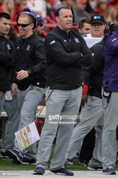 Head coach Pat Fitzgerald of the Northwestern Wildcats watches action against the Nebraska Cornhuskers at Memorial Stadium on November 4 2017 in...