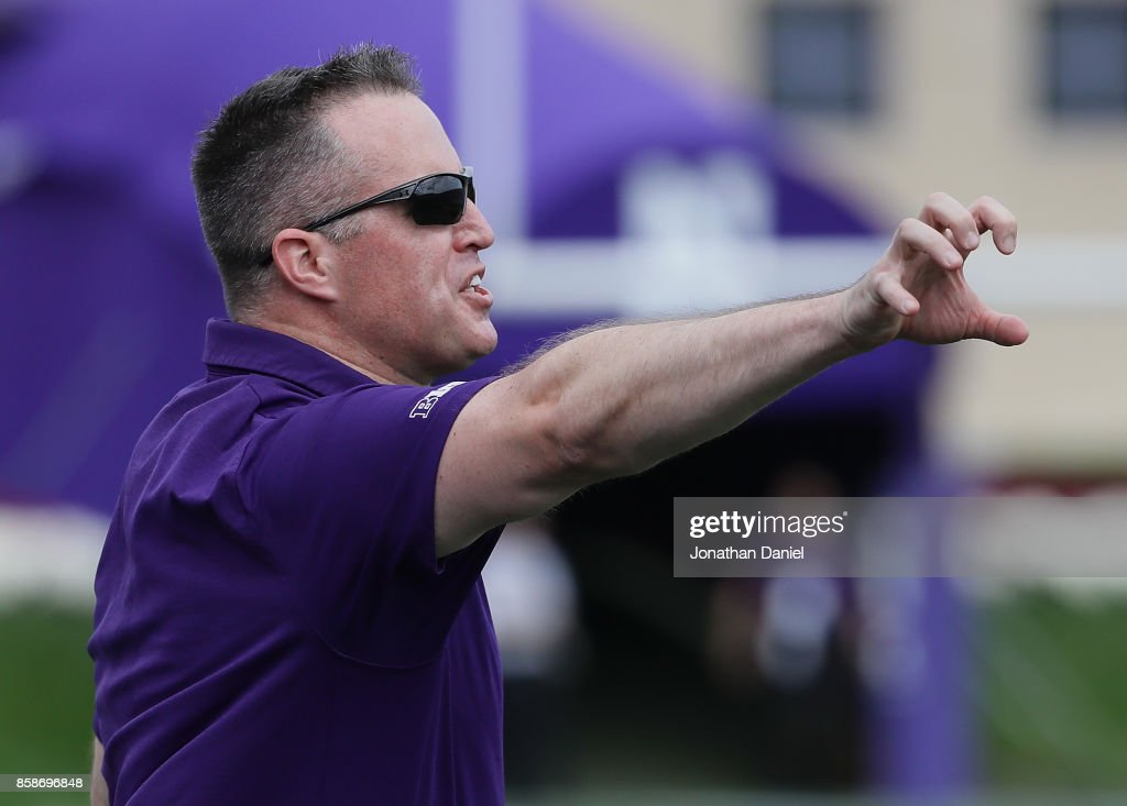 Head coach Pat Fitzgerald of the Northwestern Wildcats yells at a referee during a game against the Penn State Nittany Lions at Ryan Field on October 7, 2017 in Evanston, Illinois.