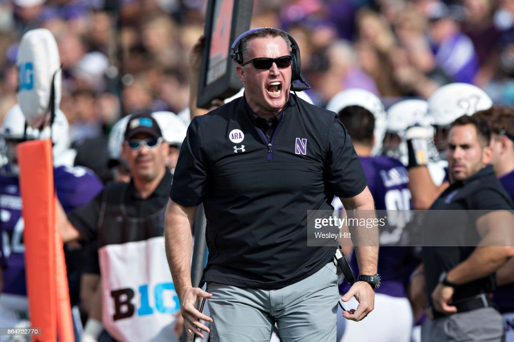Head Coach Pat Fitzgerald of the Northwestern Wildcats yells to the officials during a game against the Iowa Hawkeyes at Ryan Field on October 21, 2017 in Evanston, Illinois. The Wildcats defeated the Hawkeyes 17-10.