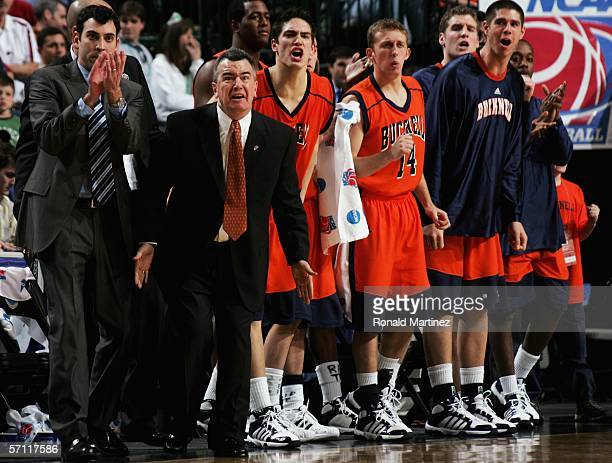Head coach Pat Flannery of the Bucknell Bison and his team watch the final minutes of the game against the Arkansas Razorbacks in the First Round of...