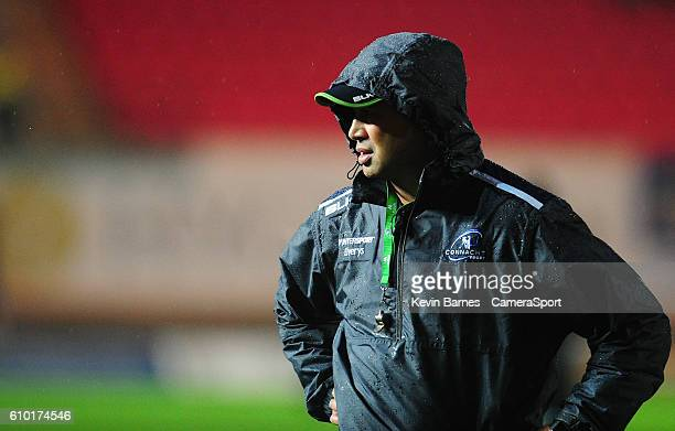 Head Coach Pat Lam of Connacht during the pre match warm up during the Guinness PRO12 Round 4 match between Scarlets and Connacht Rugby at Parc y...