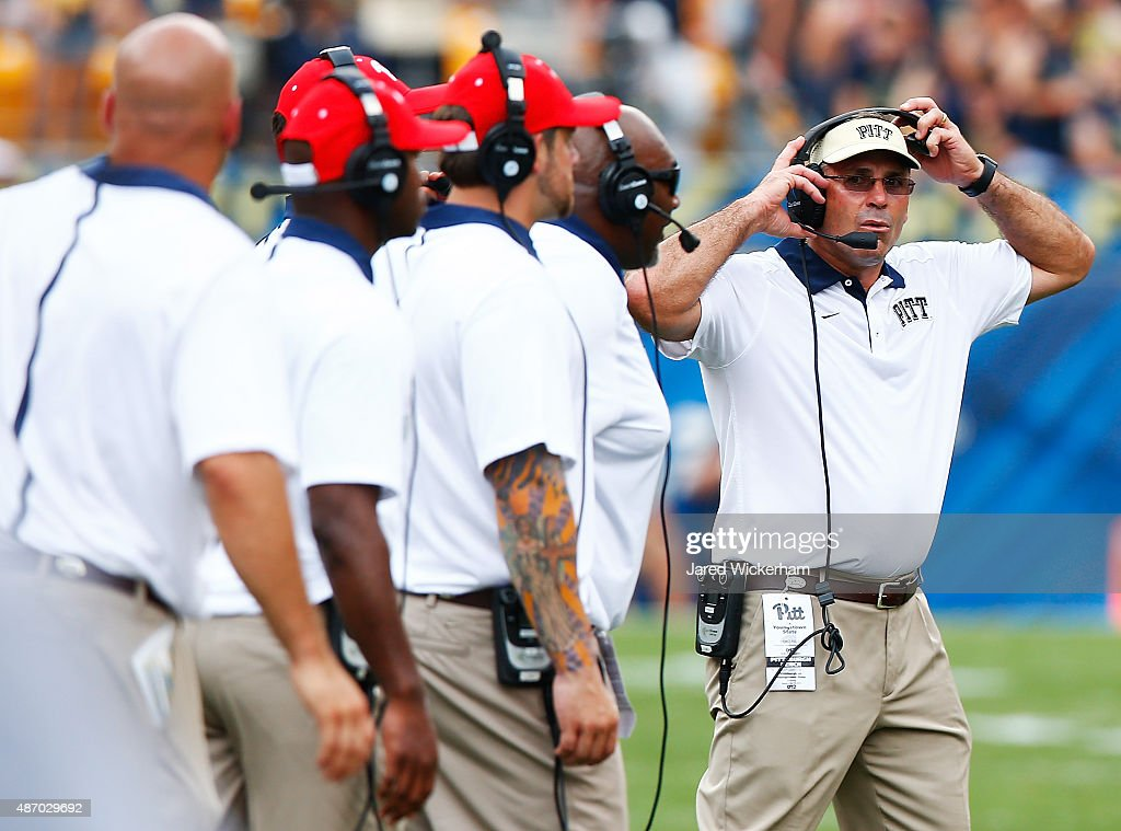 Head coach Pat Narduzzi of the Pittsburgh Panthers looks on in the second half against the Youngstown State Penguins during the game at Heinz Field on September 5, 2015 in Pittsburgh, Pennsylvania.