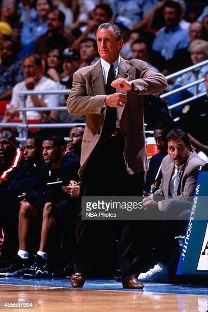 Head coach Pat Riley of the Miami Heat calls a play during a game circa 1995 in Miami Florida NOTE TO USER User expressly acknowledges and agrees...