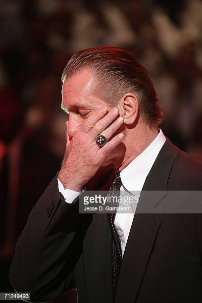 Head coach Pat Riley of the Miami Heat is in deep thought against the Dallas Mavericks during Game Three of the 2006 NBA Finals June 13 2006 at...