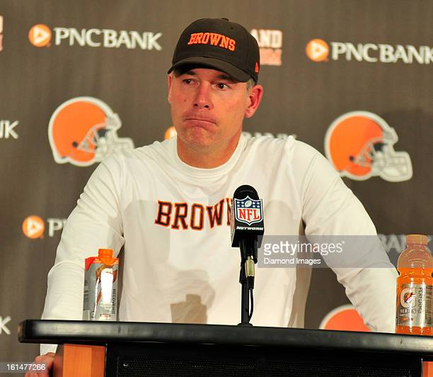 Head coach Pat Shurmur of the Cleveland Browns answers questions from the media after a game against the Pittsburgh Steelers at Cleveland Browns...