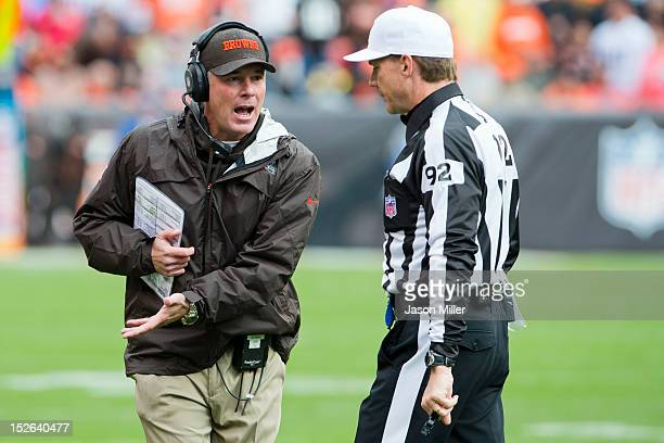 Head coach Pat Shurmur of the Cleveland Browns argues a call with referee David Scott during the first half against the Buffalo Bills at Cleveland...