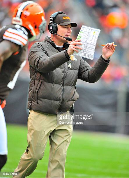 Head coach Pat Shurmur of the Cleveland Browns calls a timeout during a game against the Baltimore Ravens at Cleveland Browns Stadium in Cleveland...