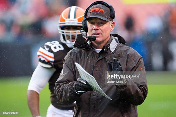 Head coach Pat Shurmur of the Cleveland Browns celebrates during the second half against the San Diego Chargers at Cleveland Browns Stadium on...