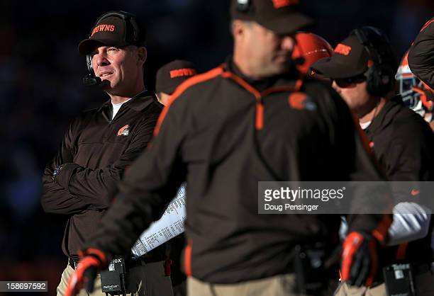 Head coach Pat Shurmur of the Cleveland Browns leads his team against the Denver Broncos Sports Authority Field at Mile High on December 23 2012 in...