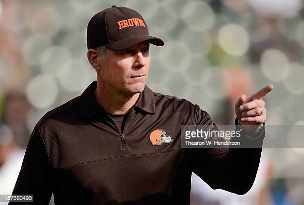 Head Coach Pat Shurmur of the Cleveland Browns looks on during pregame warm ups before playing the Oakland Raiders at OaklandAlameda County Coliseum...